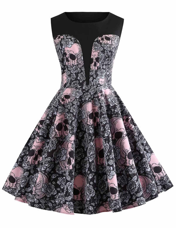 New Round Neck Halloween Skull Printed Sleeveless Vintage Dress