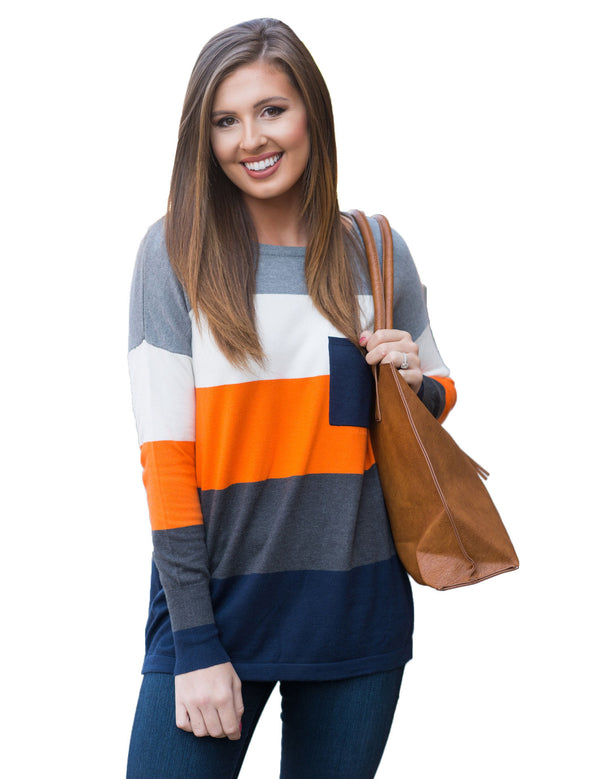 New Round Neck Long Sleeve Color Stitching Casual Knited Sweater
