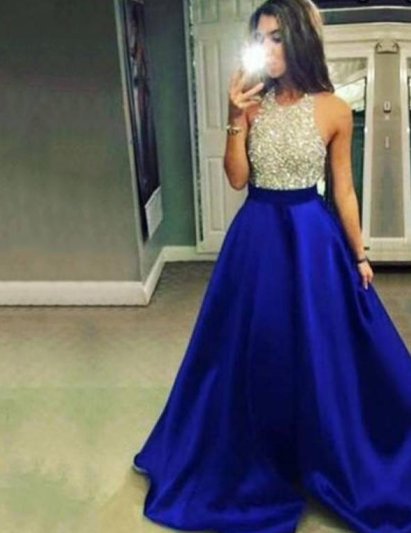 New Sexy Halter Backless Sequins Blue Satin Prom Evening Maxi Dress