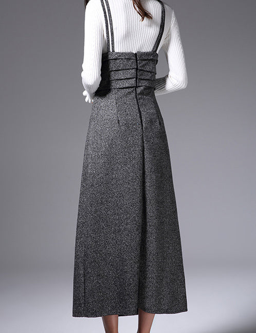 New Straps Ruffled Bust Grey Wool Elegant Long Dress