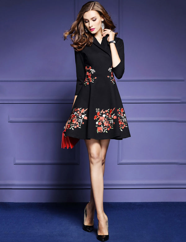 New V-Neck Seven Point Sleeve Embroidered Mini Elegant Dress
