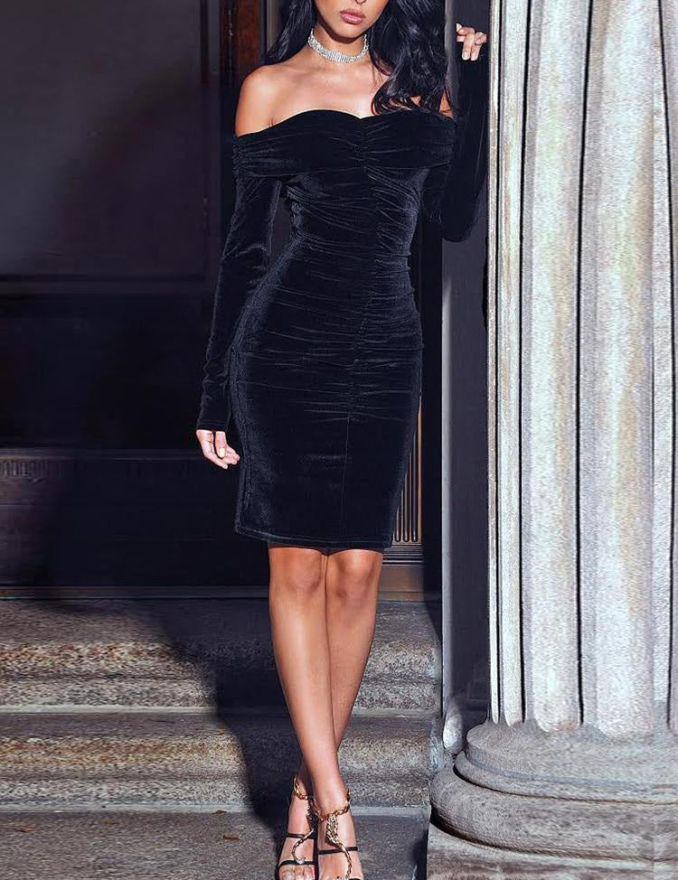 Off Shoulder Long Sleeve Velvet Ruched Bodycon Dress