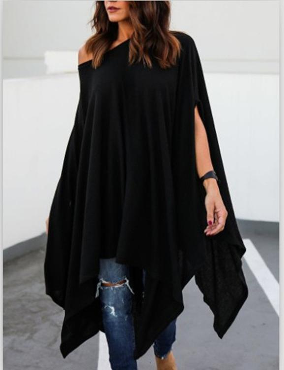 one shoulder black blouse