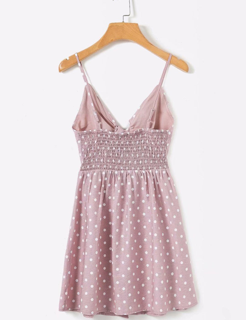 Sling Bowknot Button Polka dot Printed Mini Dress