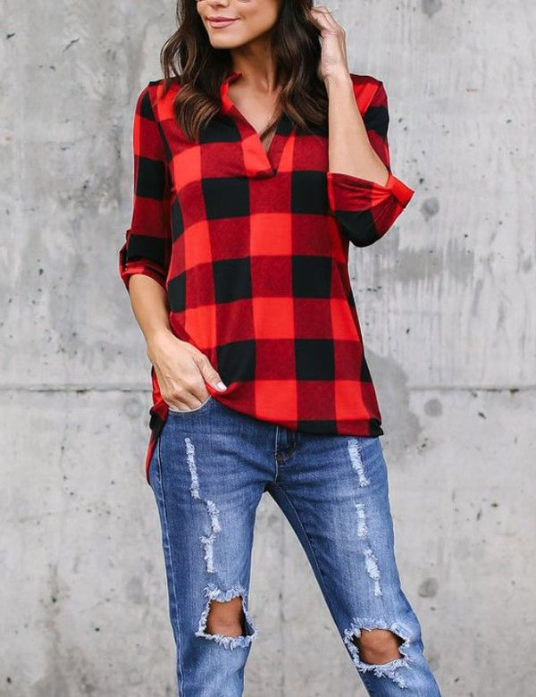Panel V-Neck Long Sleeve Red Plaid Casual Blouse