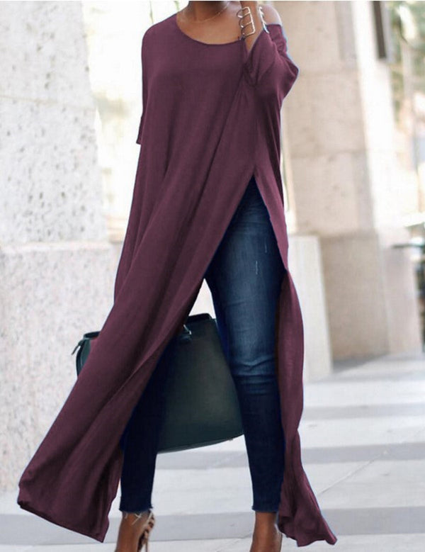 Plu Size Sexy High Split Long Sleeve Long Dress