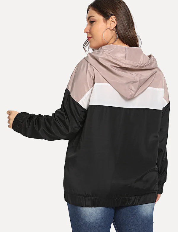 Plus Color Block Long Sleeve Hooded Jacket