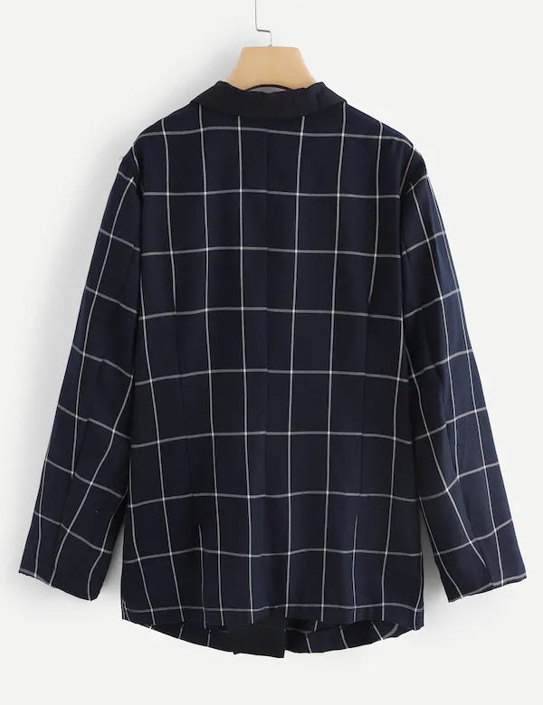 Plus Long Sleeve Notched Collar Pockets Navy Plaid Blazer