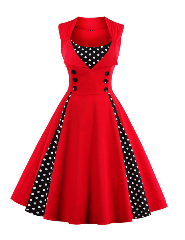 Plus Size A-Line Polka Dot Retro Corset Stitching Dress