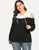 Plus Size Cold Shoulder Long Sleeve Two Tone Hoodie Sweatshirt