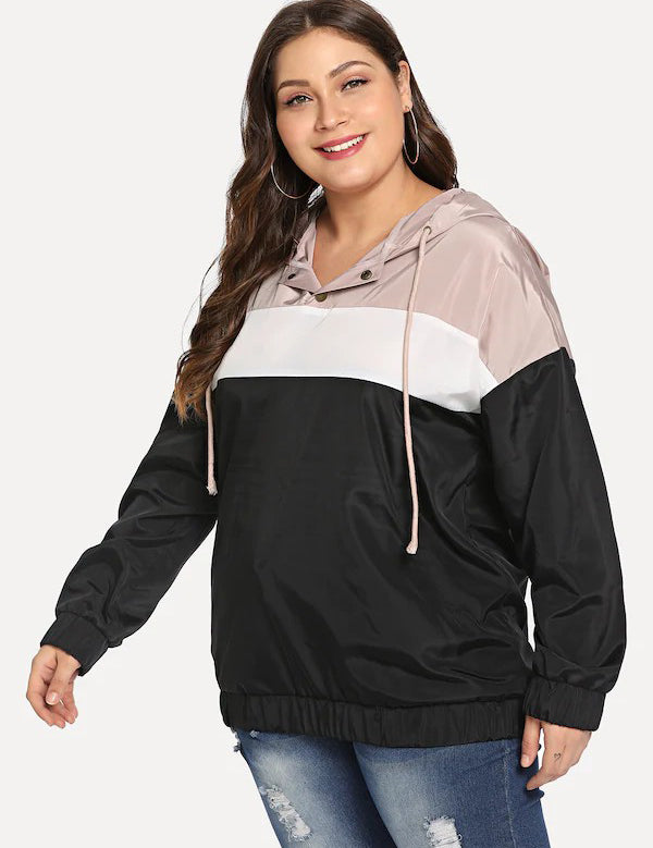Plus Size Color Block Long Sleeve Hooded Cool Jacket