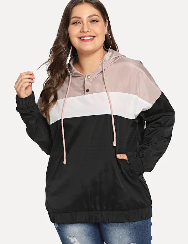 Plus Size Color Block Long Sleeve Hooded Jacket
