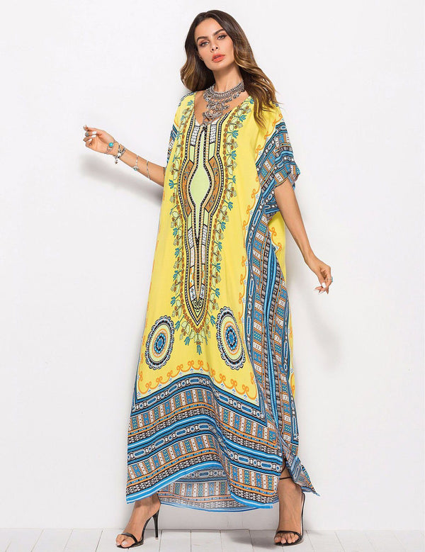 Plus Size Floral Printed Casual Fashion Yellow Beach Dress
