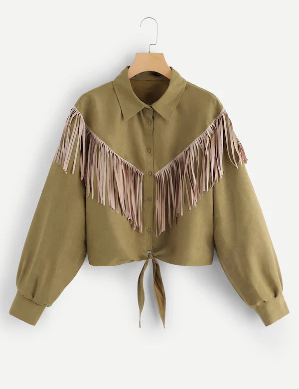 Plus Size Fringe Patched Knot Hem Buttons Long Sleeve Coat