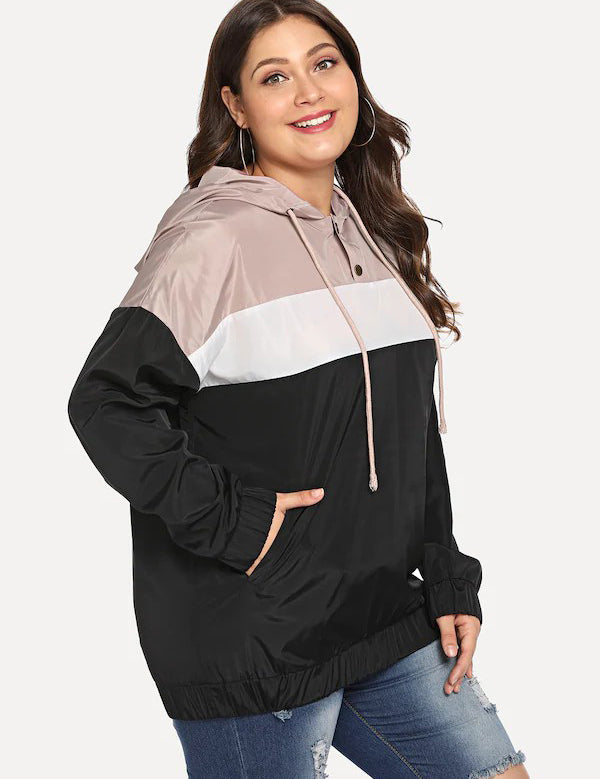 Plus Size Long Sleeve Color Block Hooded Jacket