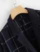 Plus Size Long Sleeve Notched Collar Pocket Navy Plaid Blazer