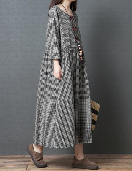 Plus Size Loose Comfortable Round Neck Long Sleeve Plaid Dress