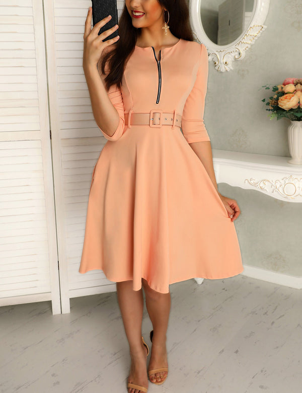 Round Neck 3/4 Sleeve Zipper Up Belted Pleated Solid Casual Dress