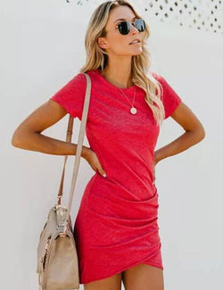 Round Neck Short Sleeve Bodycon Mini Dress