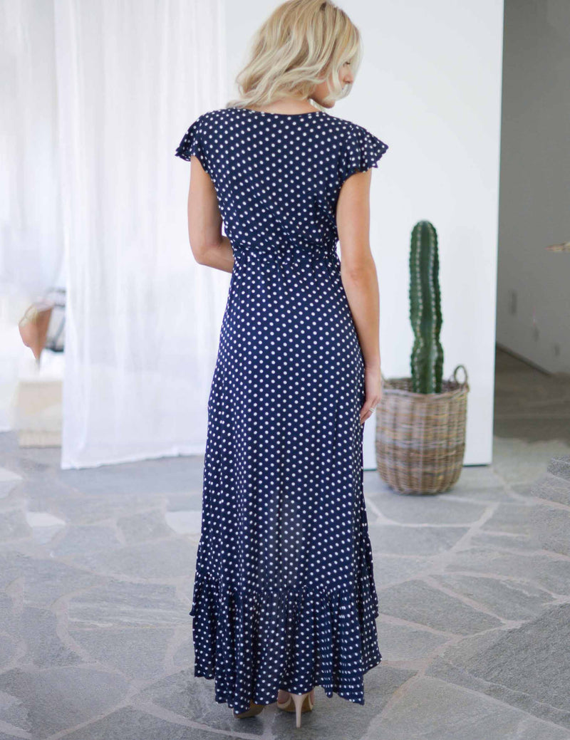 Ruffled Cap Sleeve Irregular Polka Dot Navy Maxi Dress