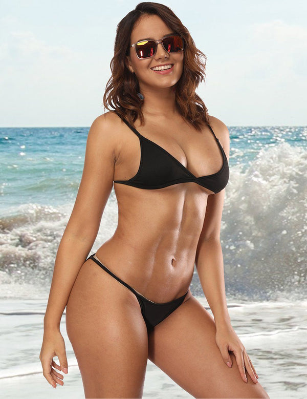 Solid Color Split Bikini Swimwear Set - Fancyqube