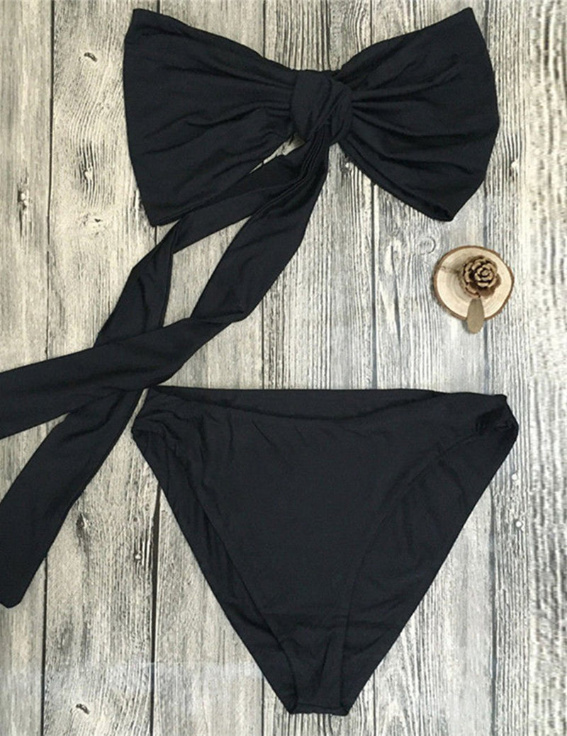 Two Piece Strapless Bow Bikini Swimwear Set - Fancyqube