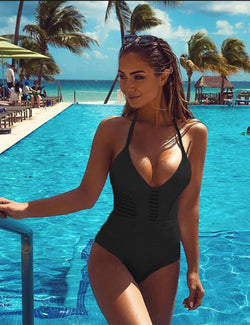 Solid Color Hollow Sling One Piece Swimsuit - Fancyqube