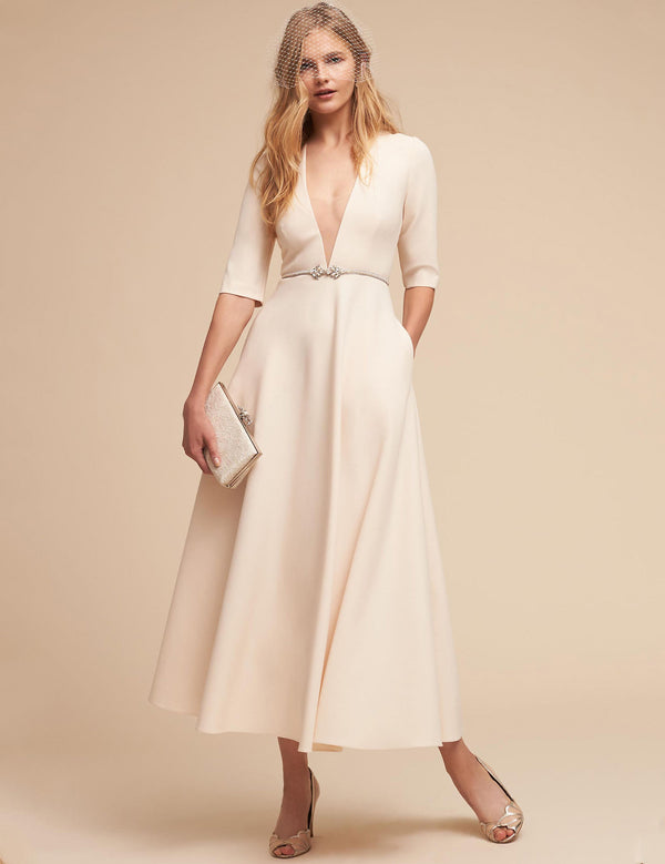Solid Midi-Length Dress