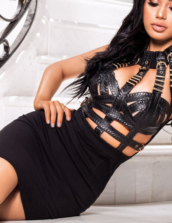 Black Metal Studded Sleeveless Bandage Party Mini Dress