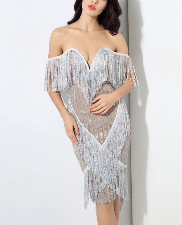 Sexy Fringed off Shoulder Backless Gorgeous Bodycon Midi dress