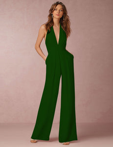 Sexy Halter Deep V-Neck Sleeveless Green Casual Jumpsuit