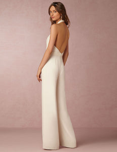 Sexy Halter Deep V-Neck Sleeveless Solid Casual Jumpsuit