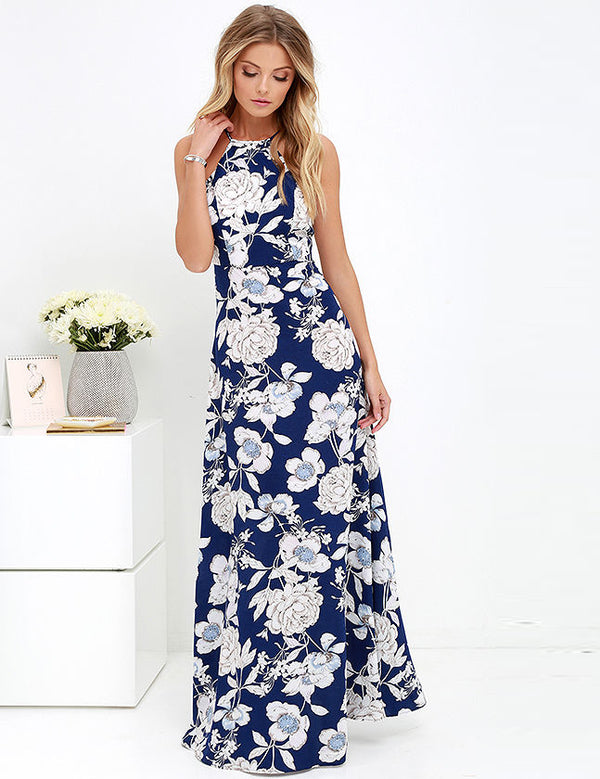 Sexy Halter Open Back Floral Print Bodycon Maxi Dress