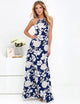 Sexy Halter Open Back Floral Printed Bodycon Maxi Dress