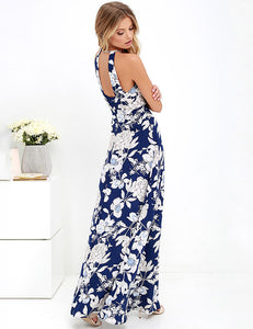 Sexy Halter Open Back Floral Printed Maxi Dress
