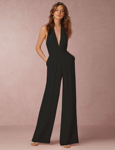 Sexy Halter V-Neck Sleeveless Solid Casual Jumpsuit