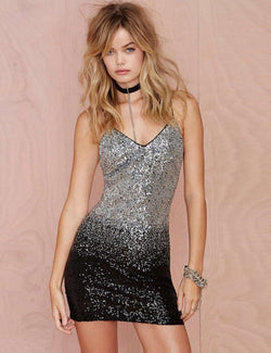 Sheath Spaghetti Straps Gradient Sequined Sexy Homecoming Dress