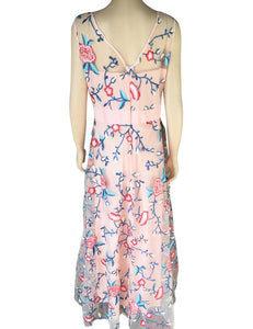 Sexy Mesh Floral Embroidery Maxi Dress