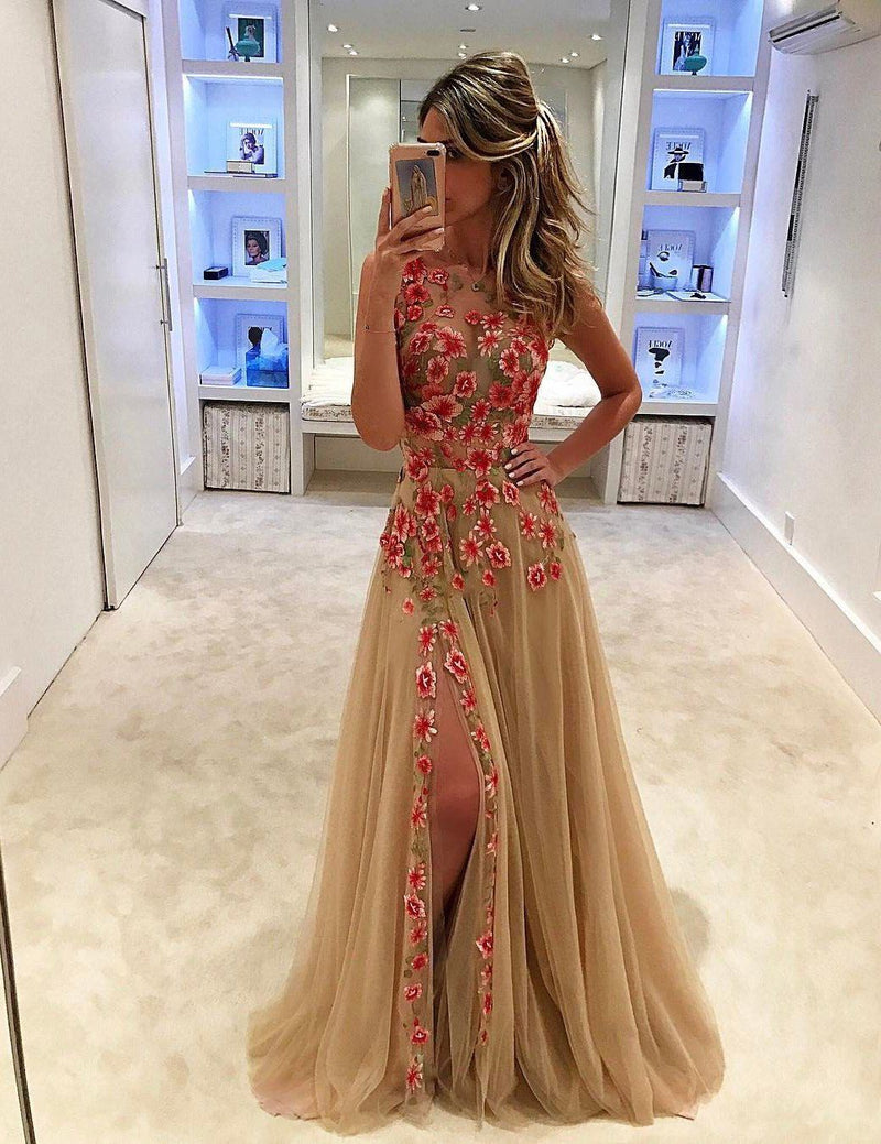 Sexy Mesh Floral Embroidery Side Slit Maxi Dress