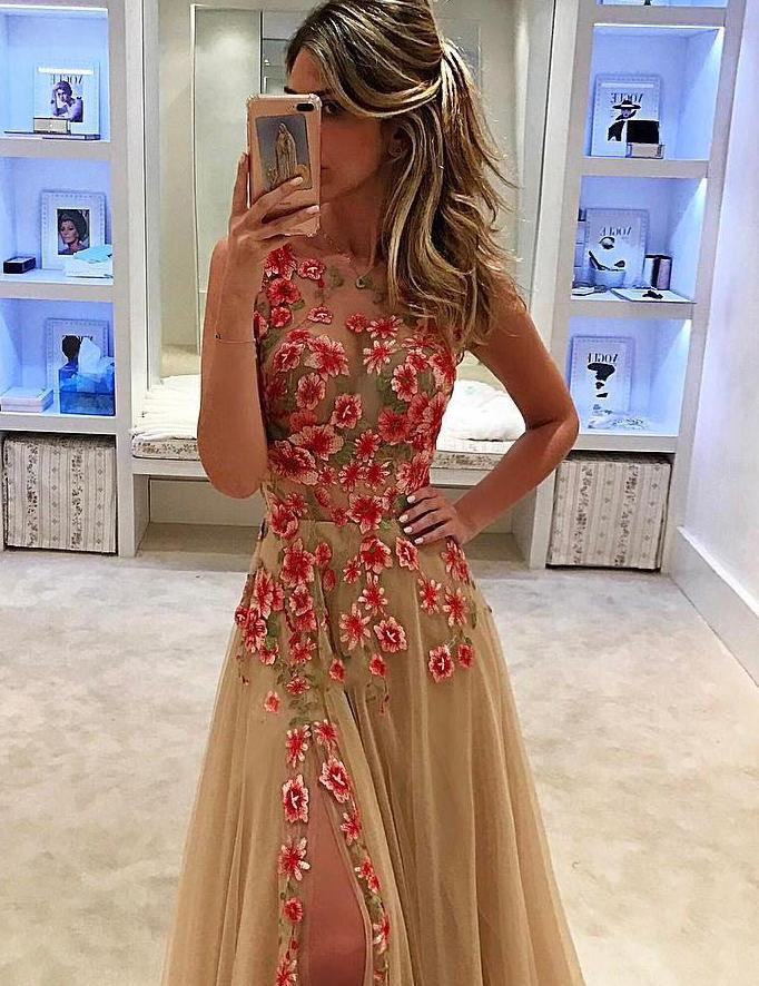 Sexy Mesh Floral Embroidery Side Slit Maxi Prom Dress