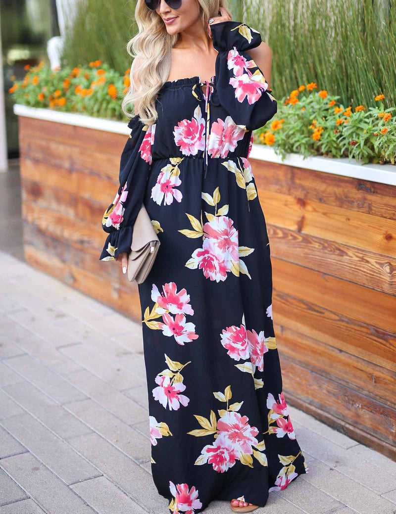 Sexy Off Shoulder Front Lace-Up Floral Printed Maxi dress