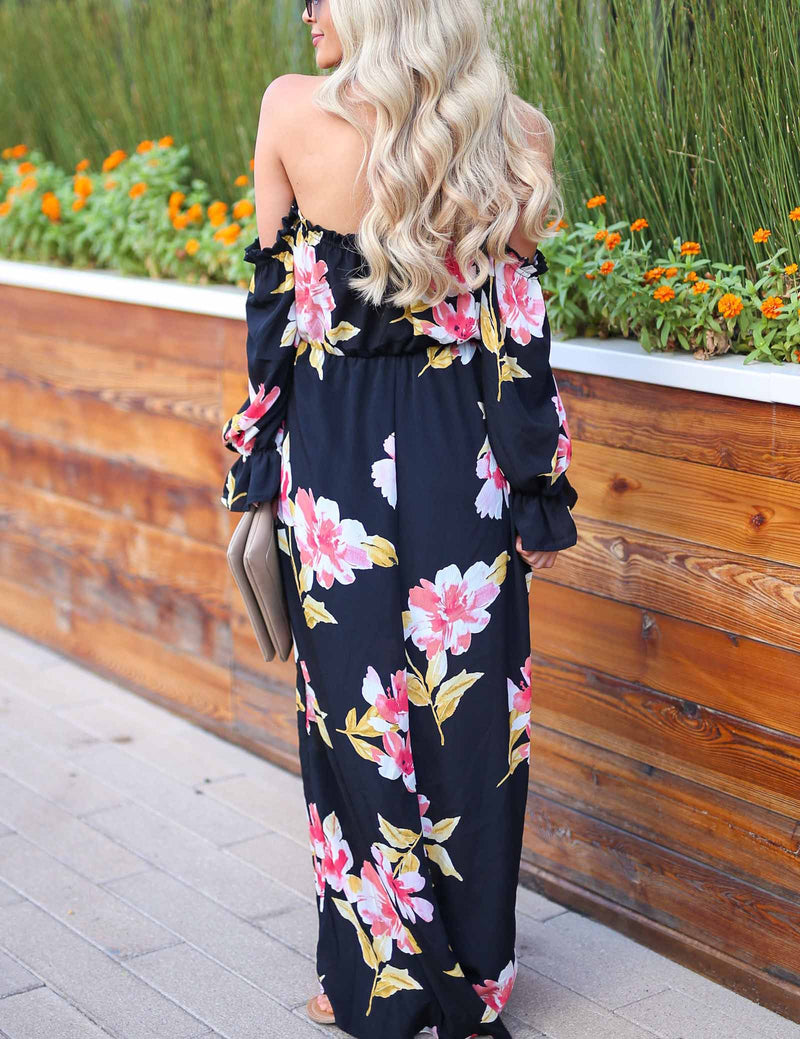 Sexy Off Shoulder Front Lace-Up Floral Printed dress