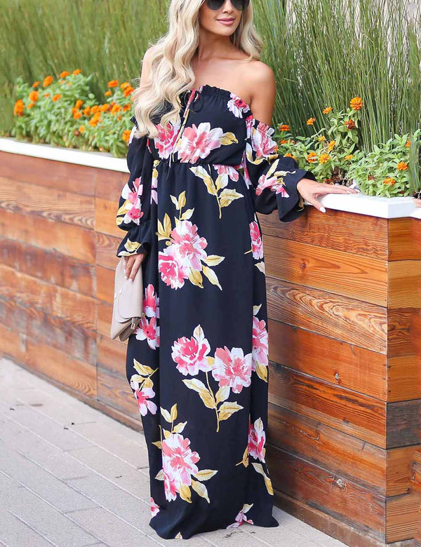 Sexy Off Shoulder Lace-Up Floral Printed Maxi dress