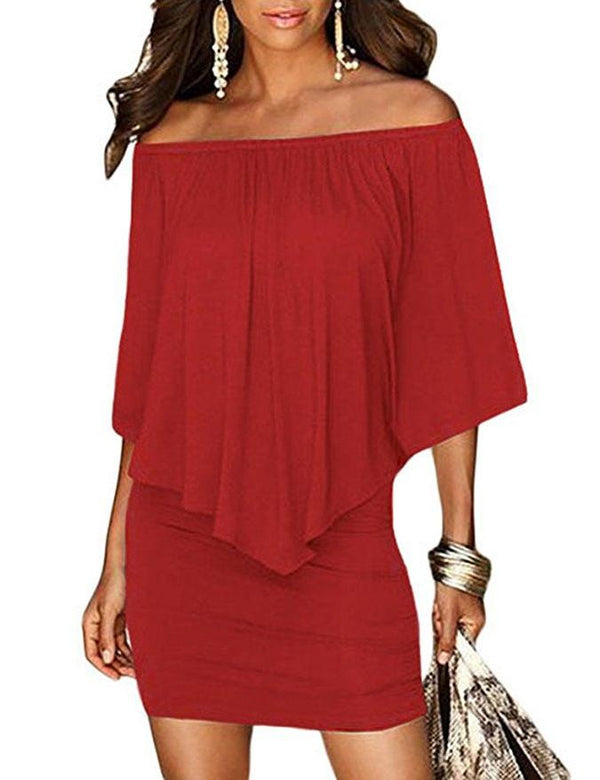 Sexy Off Shoulder Ruffled Sleeve Red Bodycon Mini Dress