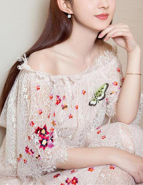 Sexy Off Shoulder Trumpet Sleeve Embroidery Lace Maxi Dress