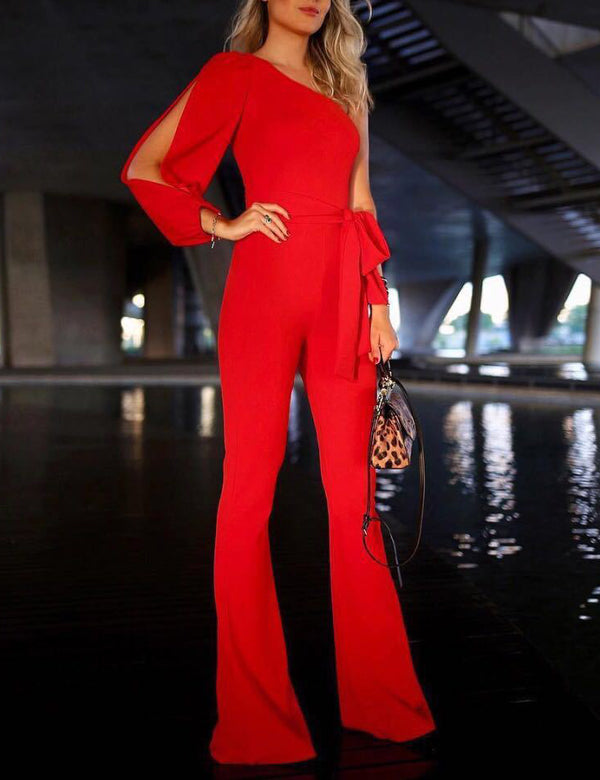 Sexy One-shoulder Sleeve Tied Belt Waist Solid Jumpsuit