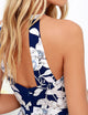 Sexy Open Back Halter Floral Print Bodycon Maxi Dress