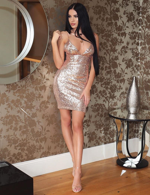 Sexy Sling Sleeveless Sequin Bodycon Party Mini Dress