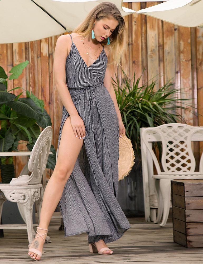 sexy v neck lace up striped jumpsuits