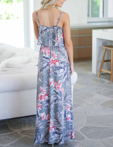 Sexy Spaghetti Straps Ruffled Tropical  Printed Maxi Dress